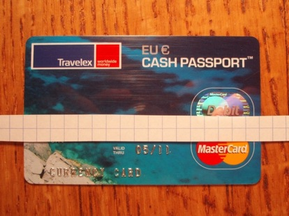 Travelex Debit Card sized